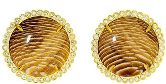 GUITA M 18kt yellow gold, Sycamore fossil and diamond studs