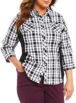 Allison Daley Plus 3/4 Roll-Tab Sleeve Plaid Button Front Shirt