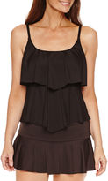 Liz Claiborne Solid Tankini Swimsuit Top