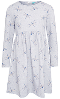 John Lewis Girls' Dragonfly Dress, Grey Marl
