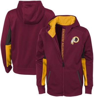 Redskins Outerstuff Youth Burgundy Washington Connected Performance Full-Zip Hoodie