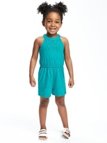 Old Navy High-Neck Lace-Yoke Romper for Toddler Girls