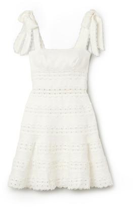 Zimmermann Kirra Tie-detailed Broderie Anglaise Linen Mini Dress