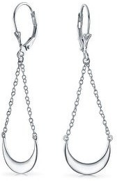 Bling Jewelry Geometric Chain Drop Crescent Moon Dangle Earrings Sterling Silver