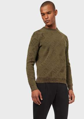 Emporio Armani Chenille Sweater With Maxi Eagle Logo