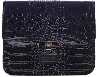 """Kartu Studio Natural Leather Cross Body """"Lavender"""" Black Reptile Print"""