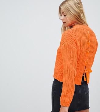 Miss Selfridge chenille jumper with lattice back detail in orange