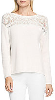 Vince Camuto Long Sleeve Pointelle Yoke Sweater