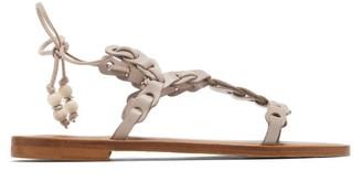 Álvaro González Akiona Ankle-tie Leather Sandals - Womens - Beige