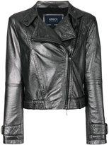 Armani Jeans high shine biker jacket