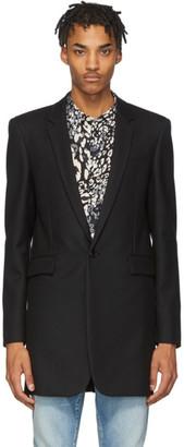 Saint Laurent Black Wool Gabardine Coat