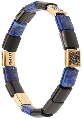 Lapis Nialaya Jewelry Dorje, CZ, lazuli, onyx and tiger eye flat beaded bracelet