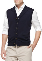 Brunello Cucinelli Button-Front Cardigan Vest, Navy