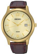Seiko Goldtone SUR186 Leather Band Watch
