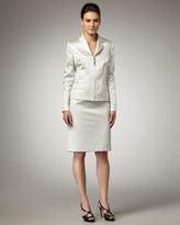 Albert Nipon Jacquard Zip-Front Suit