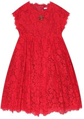 Dolce & Gabbana Kids Embellished lace dress