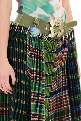 Chopova Lowena MIDI PLEATED SKIRT WITH BELT M/L Green,Blue,Yellow Wool,Leather