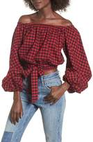 Chloe & Katie Plaid Off the Shoulder Crop Top