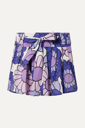 Dodo Bar Or Pleated Floral-print Cotton-voile Mini Skirt - Purple