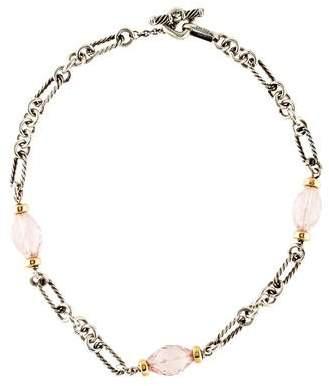 David Yurman Rose Quartz Figaro Station Necklace