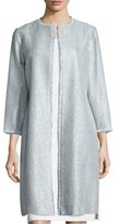 Kay Unger New York Long Tweed Coat, Sky Blue