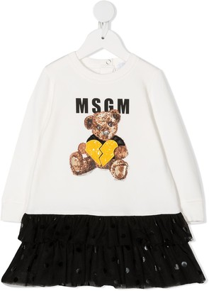 Msgm Kids Teddy Bear midi dress