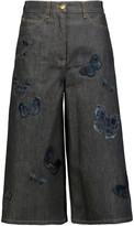 Valentino Embroidered wide-leg denim pants