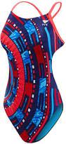 TYR Red & Blue Geometric Cutout-Back One-Piece - Girls & Women