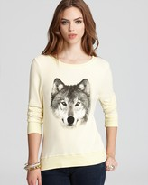 Wildfox Couture Sweatshirt - Butter Yellow with Wolf