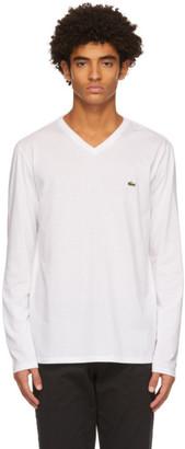 Lacoste White Logo V-Neck Long Sleeve T-Shirt