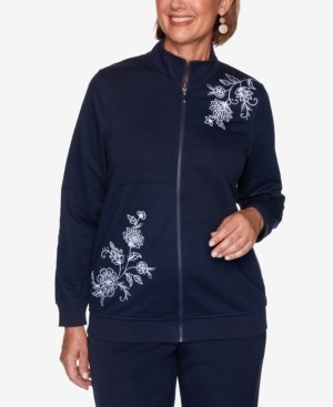 Alfred Dunner Women's Missy Vacation Mode Scroll Floral Quilt Embroidered Jacket