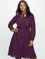 ELOQUII Plus Size Tie Neck Soft Ruffle Dress
