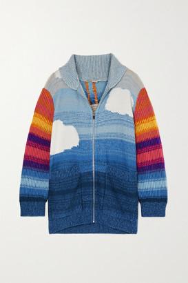 Stella McCartney Kind Intarsia Wool And Cotton-blend Cardigan - Blue