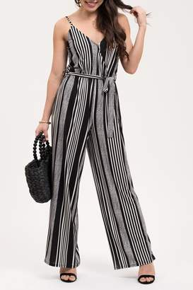 Blu Pepper Waist Tie Stripe Wide Leg Jumpsuit