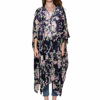 Lazzboy Women Cover-up Shrug Kimono Plus Size Chiffon Floral Flower Print Beach Flowy Open Front 3/4 Sleeve Ladies Long Maxi Swimwear Smock(2XL(18)