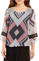 I.N. Studio Scarf Border Print 3/4 Sleeve Top