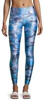 Terez Tall Waistband Printed Performance Leggings, Blue Pattern