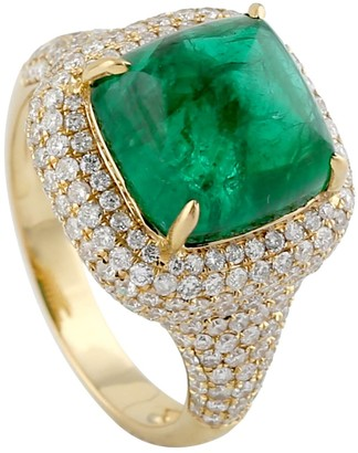 Artisan 18K Yellow Gold Diamond Cocktail Ring Emerald Precious Stone Jewelry