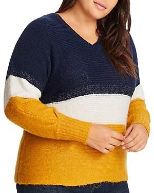 1.state Plus V-Neck Color-Block Sweater