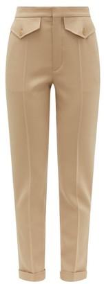 Chloé Tailored Virgin Wool-blend Twill Trousers - Womens - Light Brown