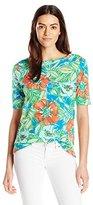 Caribbean Joe Women's Floral-Printed Boatneck T-Shirt