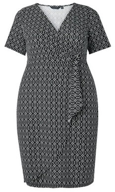 Dorothy Perkins Womens Dp Curve Black Geometric Print Wrap Dress, Black