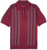 Prada Slim-Fit Jacquard-Knit Silk, Wool and Cotton-Blend Polo Shirt