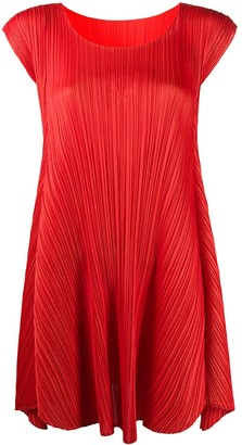Pleats Please Issey Miyake Cap Sleeve Pleated Shift Dress