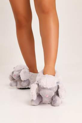 I SAW IT FIRST Grey Poodle Novelty Slippers