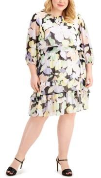 Calvin Klein Size Floral-Print Tiered Dress