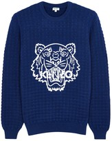 Kenzo Blue Tiger-appliquéd Wool Jumper