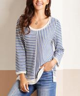 Suzanne Betro Weekend Women's Tunics 101BLUE/IVORY - Blue & White Stripe Three-Quarter Sleeve Tunic - Women & Plus