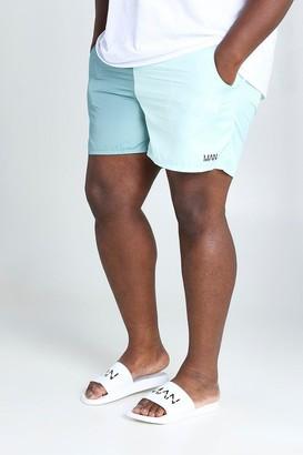 boohoo Mens Green Big & Tall MAN Colour Block Mid Length Swimshort, Green