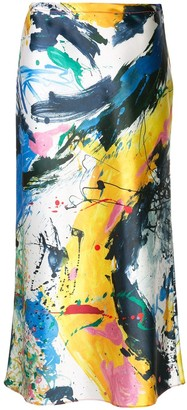Sies Marjan Painted-Print Satin Skirt